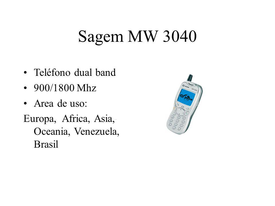 Sagem MW 3040 Teléfono dual band 900/1800 Mhz Area de uso: Europa, Africa, Asia, Oceania, Venezuela, Brasil