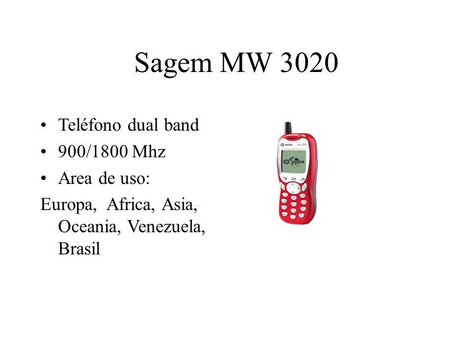 Sagem MW 3020 Teléfono dual band 900/1800 Mhz Area de uso: Europa, Africa, Asia, Oceania, Venezuela, Brasil