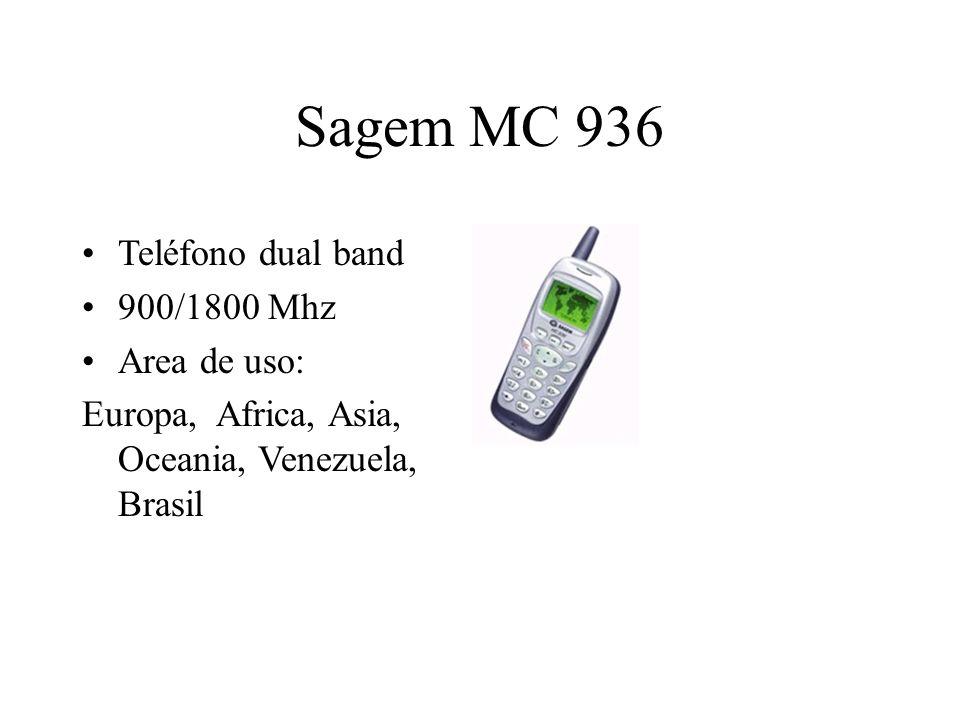 Sagem MC 936 Teléfono dual band 900/1800 Mhz Area de uso: Europa, Africa, Asia, Oceania, Venezuela, Brasil