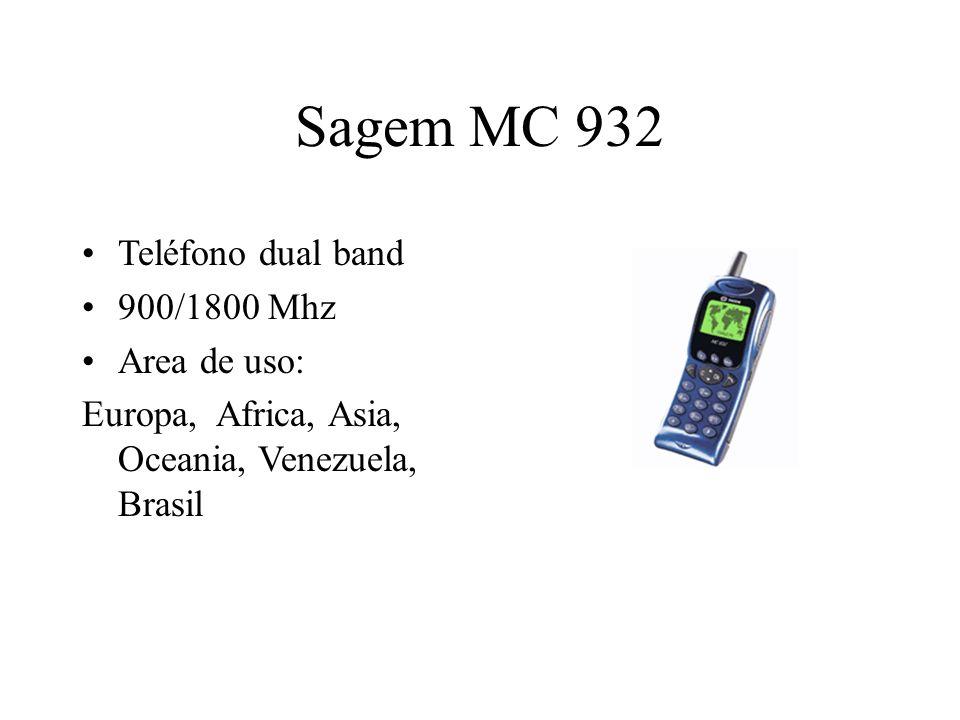 Sagem MC 932 Teléfono dual band 900/1800 Mhz Area de uso: Europa, Africa, Asia, Oceania, Venezuela, Brasil