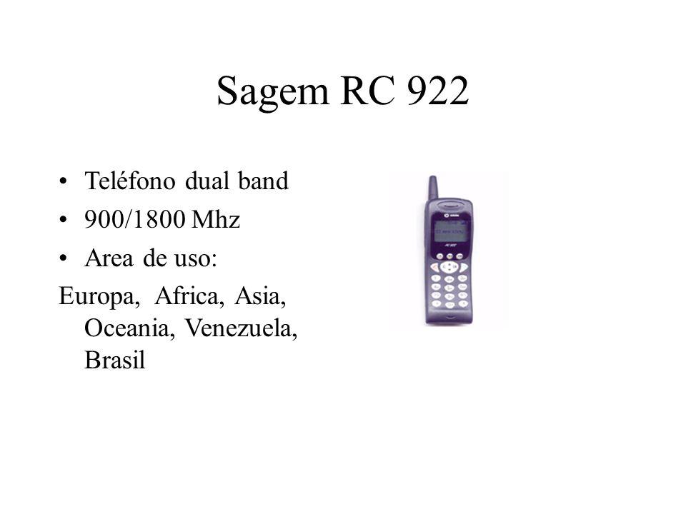 Sagem RC 922 Teléfono dual band 900/1800 Mhz Area de uso: Europa, Africa, Asia, Oceania, Venezuela, Brasil