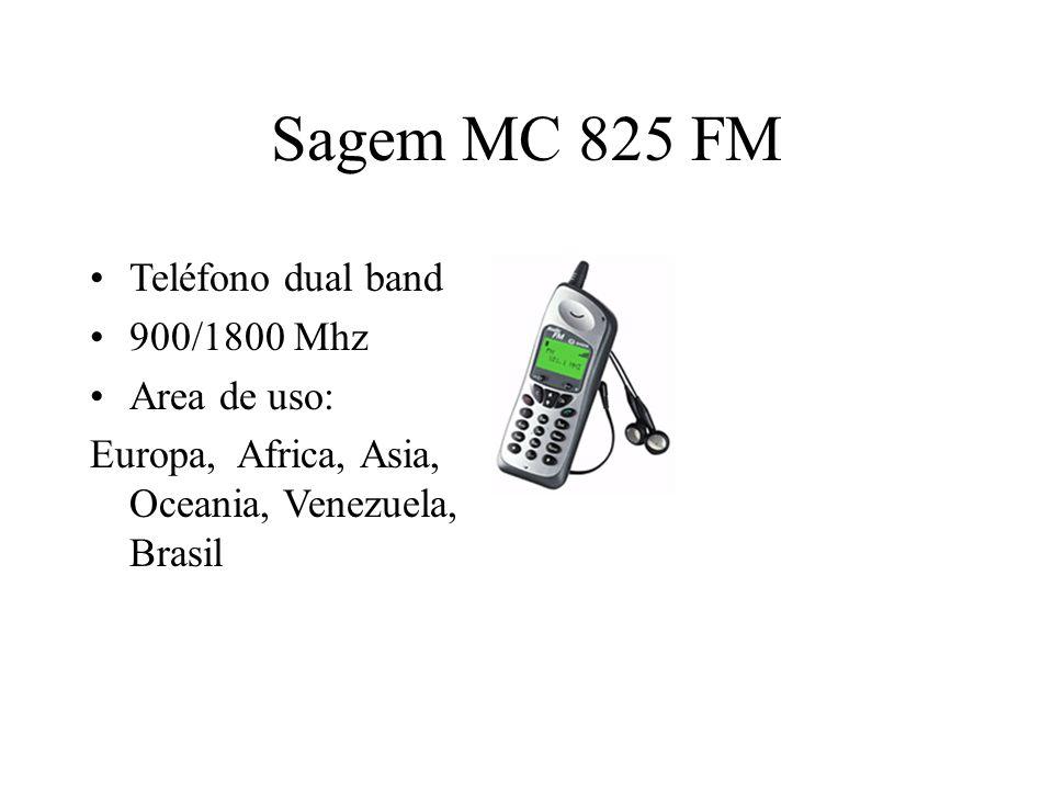 Sagem MC 825 FM Teléfono dual band 900/1800 Mhz Area de uso: Europa, Africa, Asia, Oceania, Venezuela, Brasil