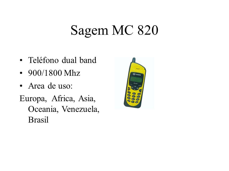 Sagem MC 820 Teléfono dual band 900/1800 Mhz Area de uso: Europa, Africa, Asia, Oceania, Venezuela, Brasil