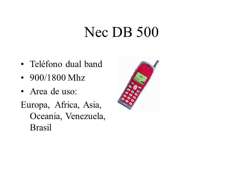Nec DB 500 Teléfono dual band 900/1800 Mhz Area de uso: Europa, Africa, Asia, Oceania, Venezuela, Brasil