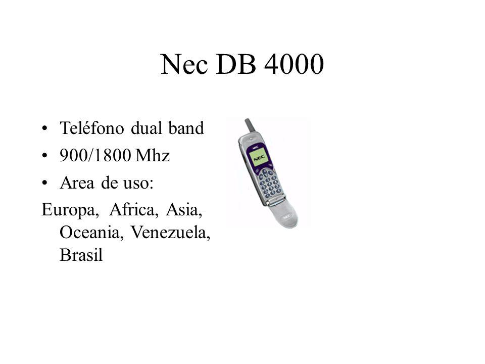 Nec DB 4000 Teléfono dual band 900/1800 Mhz Area de uso: Europa, Africa, Asia, Oceania, Venezuela, Brasil