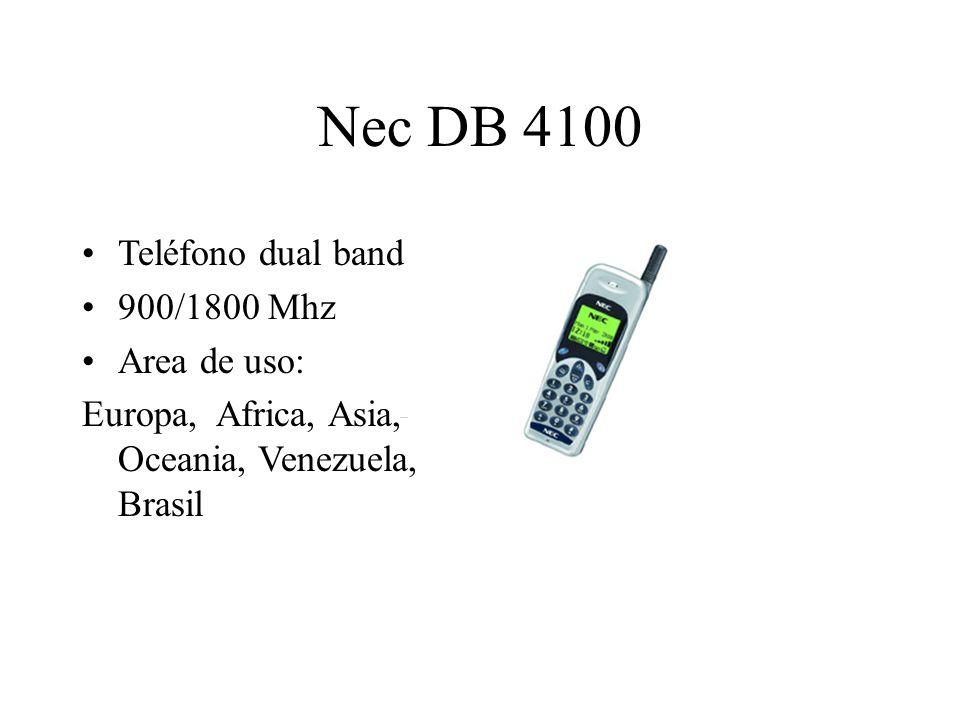 Nec DB 4100 Teléfono dual band 900/1800 Mhz Area de uso: Europa, Africa, Asia, Oceania, Venezuela, Brasil