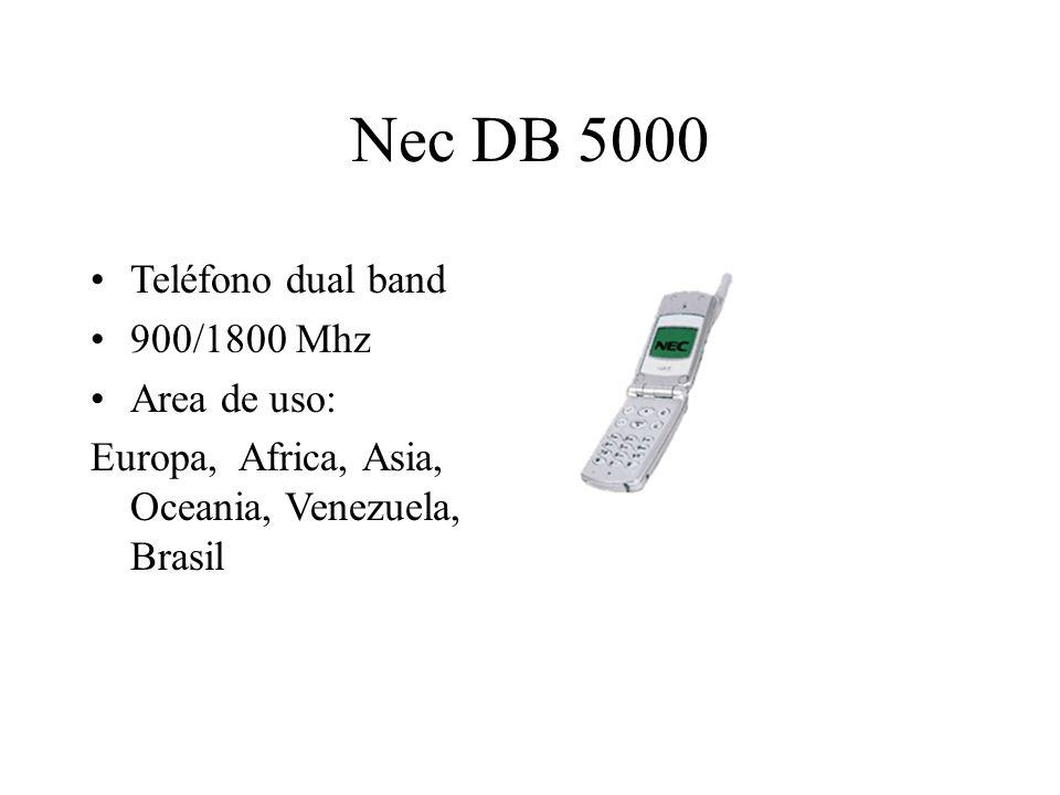 Nec DB 5000 Teléfono dual band 900/1800 Mhz Area de uso: Europa, Africa, Asia, Oceania, Venezuela, Brasil