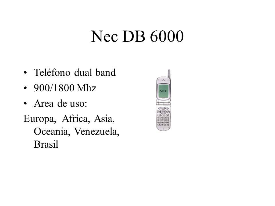 Nec DB 6000 Teléfono dual band 900/1800 Mhz Area de uso: Europa, Africa, Asia, Oceania, Venezuela, Brasil