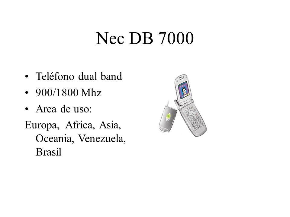Nec DB 7000 Teléfono dual band 900/1800 Mhz Area de uso: Europa, Africa, Asia, Oceania, Venezuela, Brasil