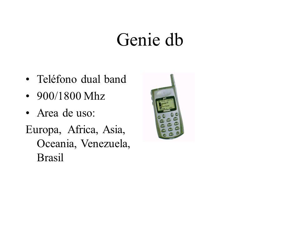 Genie db Teléfono dual band 900/1800 Mhz Area de uso: Europa, Africa, Asia, Oceania, Venezuela, Brasil