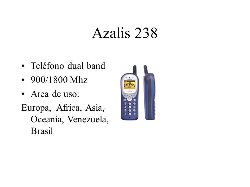 Azalis 238 Teléfono dual band 900/1800 Mhz Area de uso: Europa, Africa, Asia, Oceania, Venezuela, Brasil
