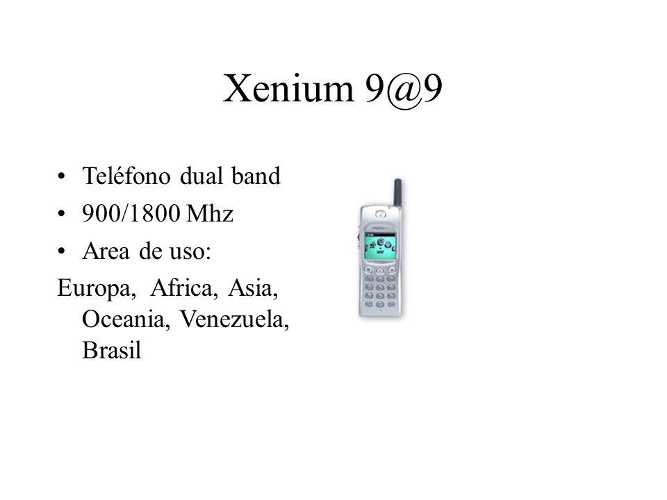 Xenium 9@9 Teléfono dual band 900/1800 Mhz Area de uso: Europa, Africa, Asia, Oceania, Venezuela, Brasil