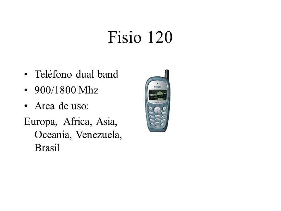 Fisio 120 Teléfono dual band 900/1800 Mhz Area de uso: Europa, Africa, Asia, Oceania, Venezuela, Brasil
