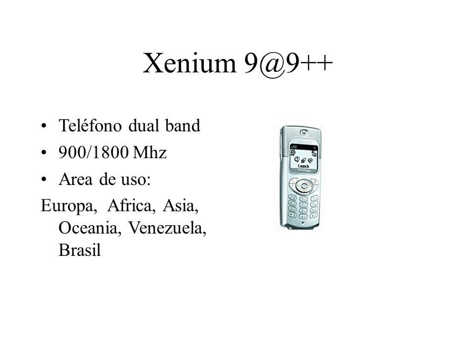 Xenium 9@9++ Teléfono dual band 900/1800 Mhz Area de uso: Europa, Africa, Asia, Oceania, Venezuela, Brasil