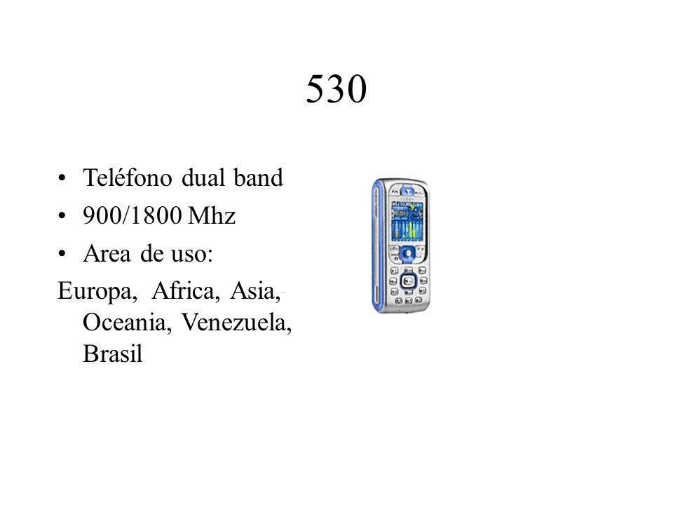 530 Teléfono dual band 900/1800 Mhz Area de uso: Europa, Africa, Asia, Oceania, Venezuela, Brasil