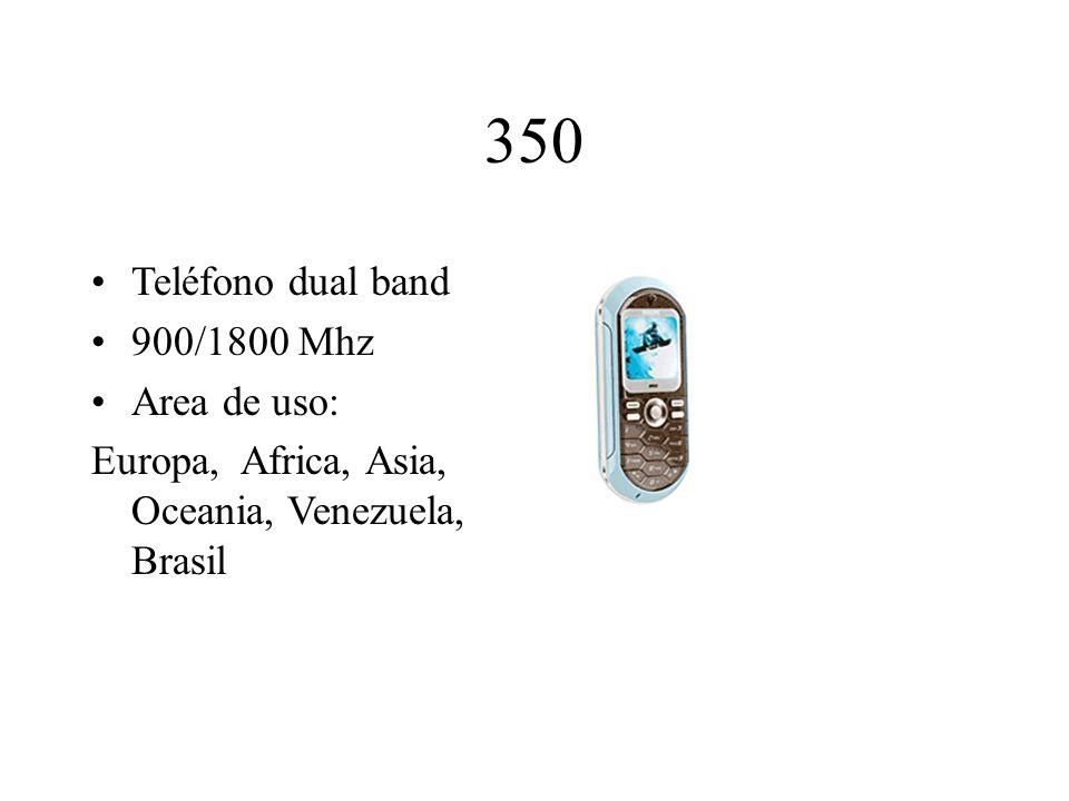 350 Teléfono dual band 900/1800 Mhz Area de uso: Europa, Africa, Asia, Oceania, Venezuela, Brasil