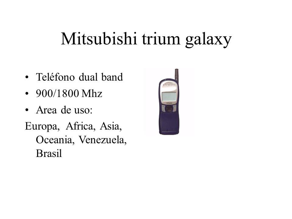 Mitsubishi trium galaxy Teléfono dual band 900/1800 Mhz Area de uso: Europa, Africa, Asia, Oceania, Venezuela, Brasil
