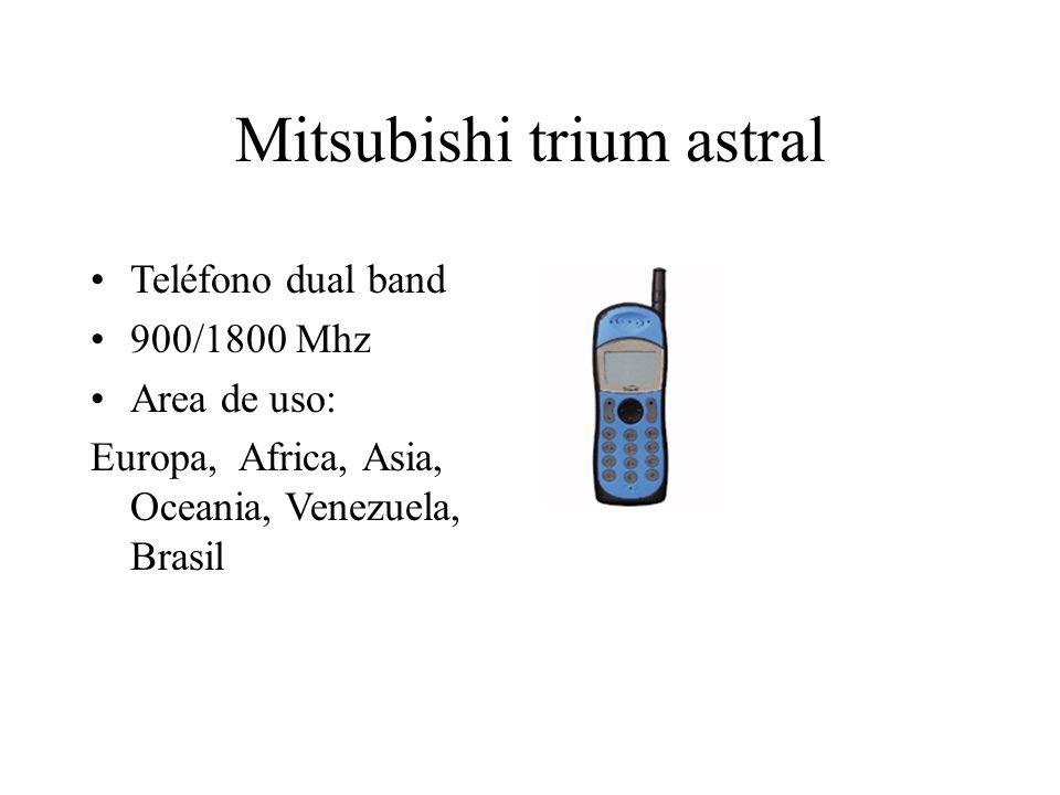 Mitsubishi trium astral Teléfono dual band 900/1800 Mhz Area de uso: Europa, Africa, Asia, Oceania, Venezuela, Brasil