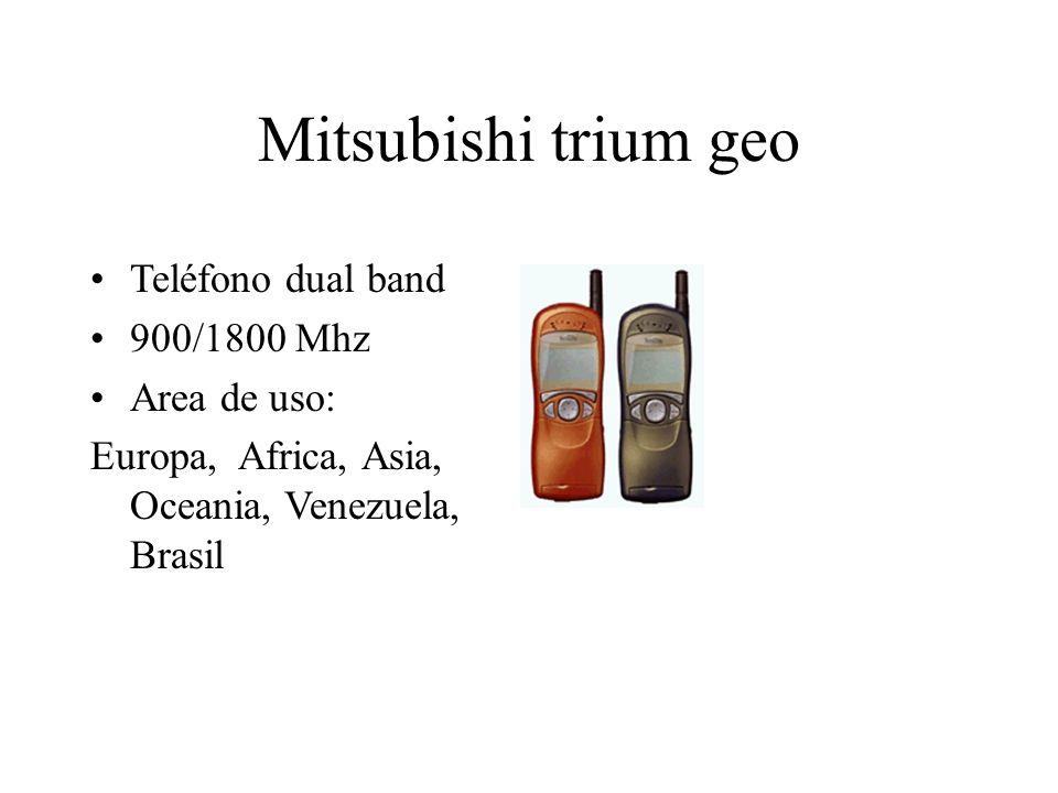 Mitsubishi trium geo Teléfono dual band 900/1800 Mhz Area de uso: Europa, Africa, Asia, Oceania, Venezuela, Brasil