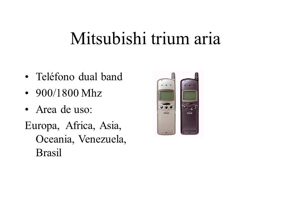 Mitsubishi trium aria Teléfono dual band 900/1800 Mhz Area de uso: Europa, Africa, Asia, Oceania, Venezuela, Brasil