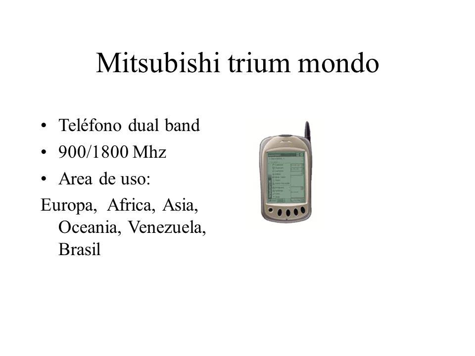 Mitsubishi trium mondo Teléfono dual band 900/1800 Mhz Area de uso: Europa, Africa, Asia, Oceania, Venezuela, Brasil