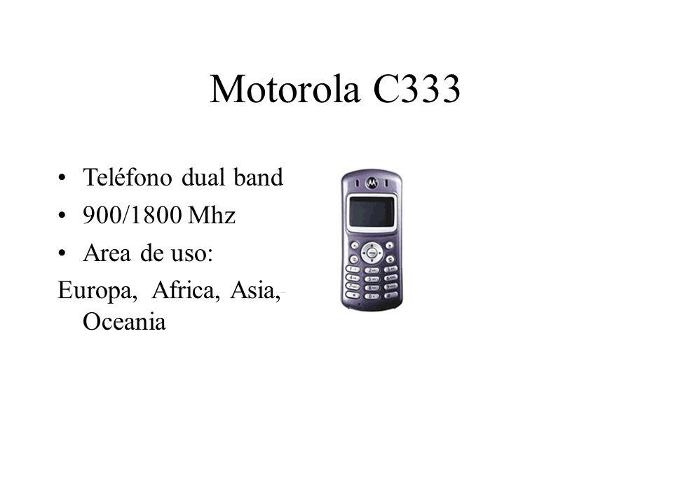 Motorola C333 Teléfono dual band 900/1800 Mhz Area de uso: Europa, Africa, Asia, Oceania