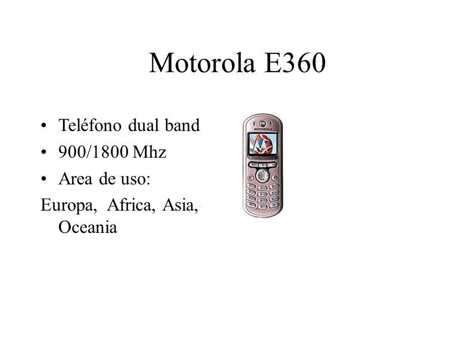 Motorola E360 Teléfono dual band 900/1800 Mhz Area de uso: Europa, Africa, Asia, Oceania