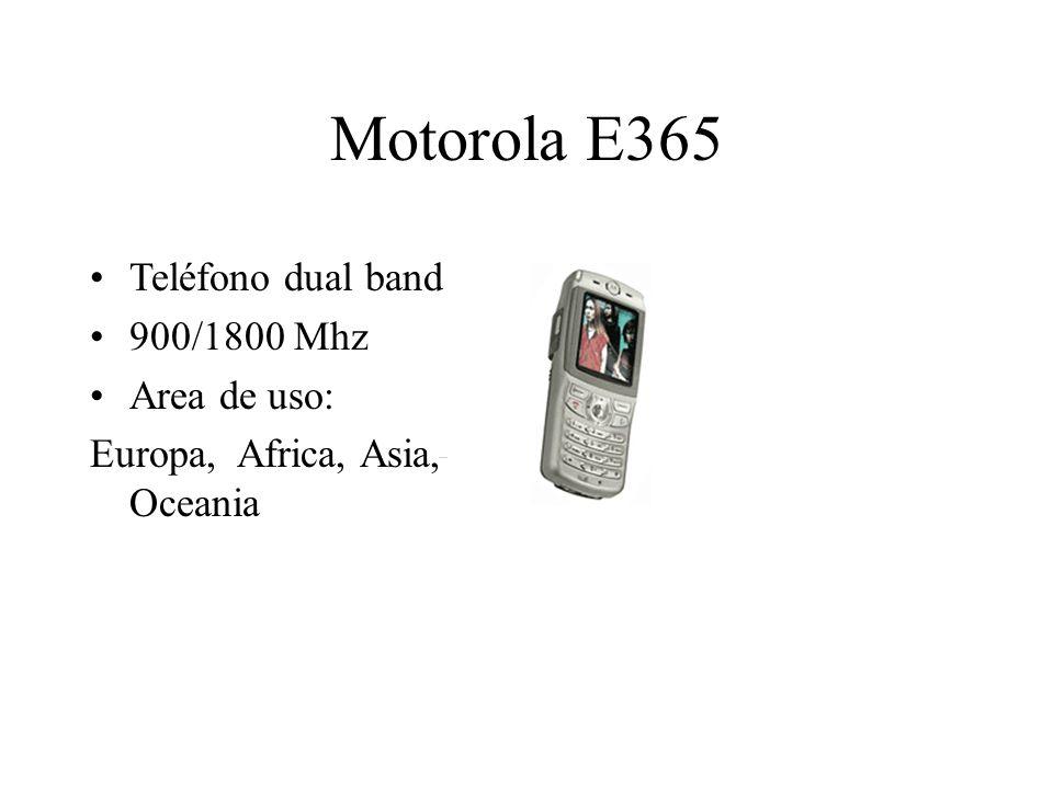 Motorola E365 Teléfono dual band 900/1800 Mhz Area de uso: Europa, Africa, Asia, Oceania