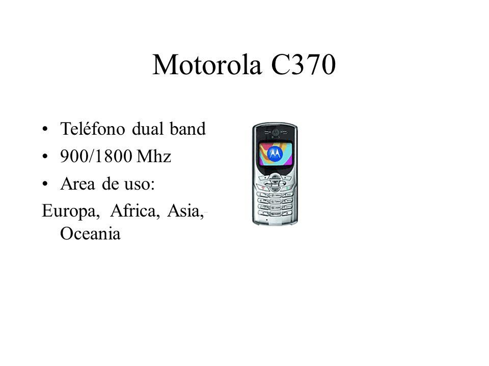 Motorola C370 Teléfono dual band 900/1800 Mhz Area de uso: Europa, Africa, Asia, Oceania