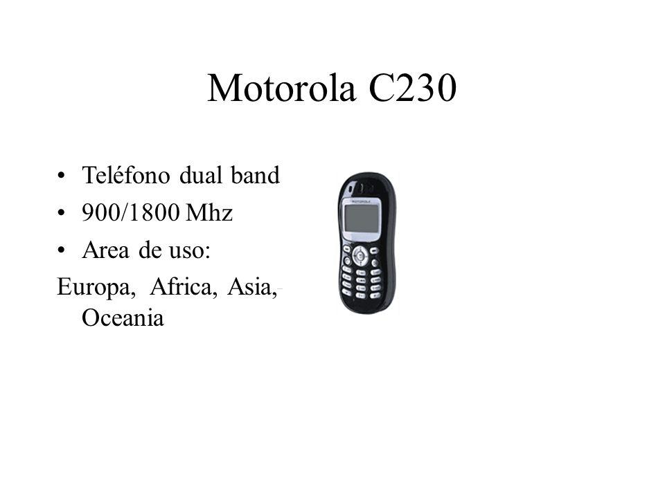 Motorola C230 Teléfono dual band 900/1800 Mhz Area de uso: Europa, Africa, Asia, Oceania