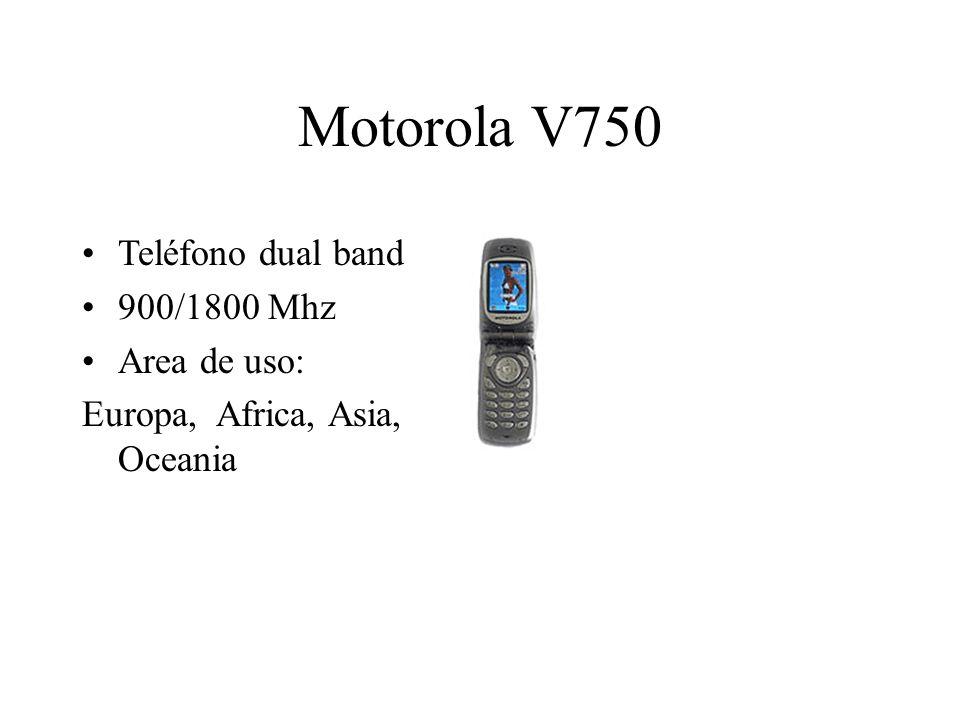 Motorola V750 Teléfono dual band 900/1800 Mhz Area de uso: Europa, Africa, Asia, Oceania
