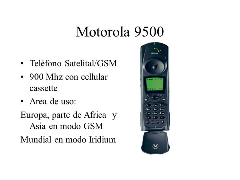Motorola 9500 Teléfono Satelital/GSM 900 Mhz con cellular cassette Area de uso: Europa, parte de Africa y Asia en modo GSM Mundial en modo Iridium