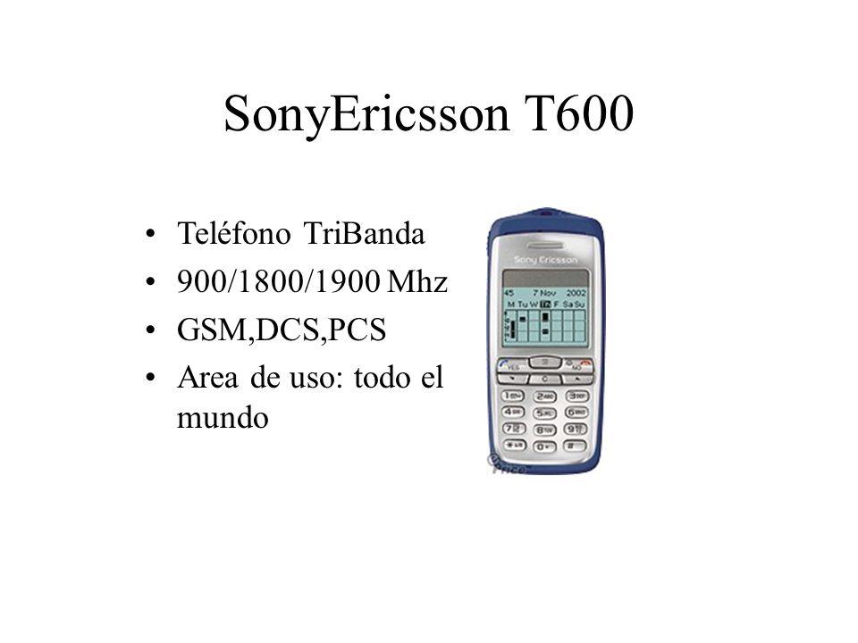 SonyEricsson T600 Teléfono TriBanda 900/1800/1900 Mhz GSM,DCS,PCS Area de uso: todo el mundo