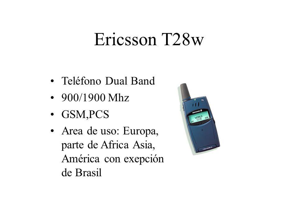 Ericsson T28w Teléfono Dual Band 900/1900 Mhz GSM,PCS Area de uso: Europa, parte de Africa Asia, América con exepción de Brasil