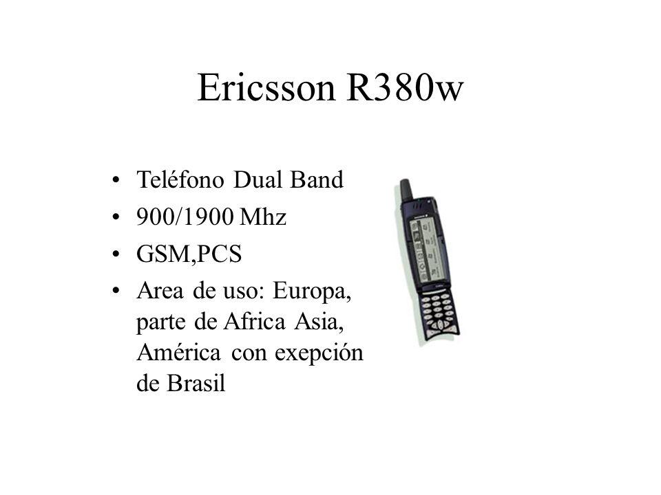 Ericsson R380w Teléfono Dual Band 900/1900 Mhz GSM,PCS Area de uso: Europa, parte de Africa Asia, América con exepción de Brasil