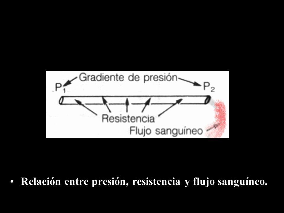 Relación entre presión, resistencia y flujo sanguíneo.
