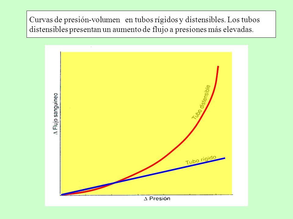 Curvas de presión-volumen en tubos rígidos y distensibles. Los tubos distensibles presentan un aumento de flujo a presiones más elevadas.