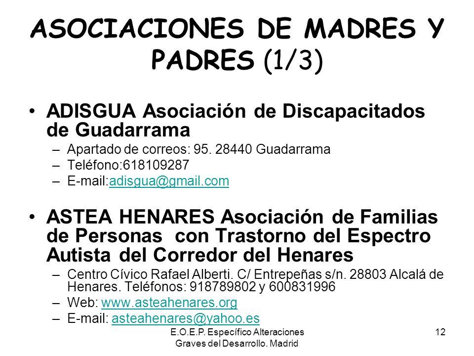 E.O.E.P. Específico Alteraciones Graves del Desarrollo. Madrid 12 ASOCIACIONES DE MADRES Y PADRES (1/3) ADISGUA Asociación de Discapacitados de Guadar