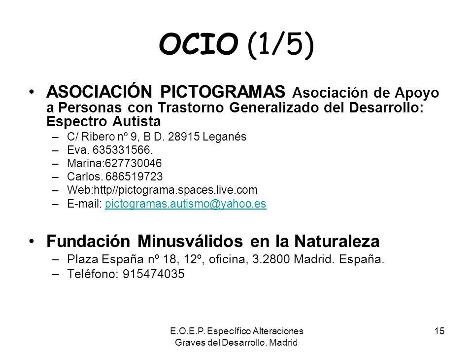 E.O.E.P. Específico Alteraciones Graves del Desarrollo. Madrid 15 OCIO (1/5) ASOCIACIÓN PICTOGRAMAS Asociación de Apoyo a Personas con Trastorno Gener
