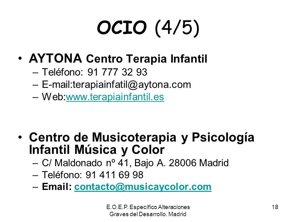 E.O.E.P. Específico Alteraciones Graves del Desarrollo. Madrid 18 OCIO (4/5) AYTONA Centro Terapia Infantil –Teléfono: 91 777 32 93 –E-mail:terapiainf