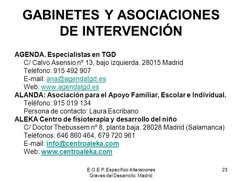 E.O.E.P. Específico Alteraciones Graves del Desarrollo. Madrid 23 GABINETES Y ASOCIACIONES DE INTERVENCIÓN AGENDA. Especialistas en TGD C/ Calvo Asens