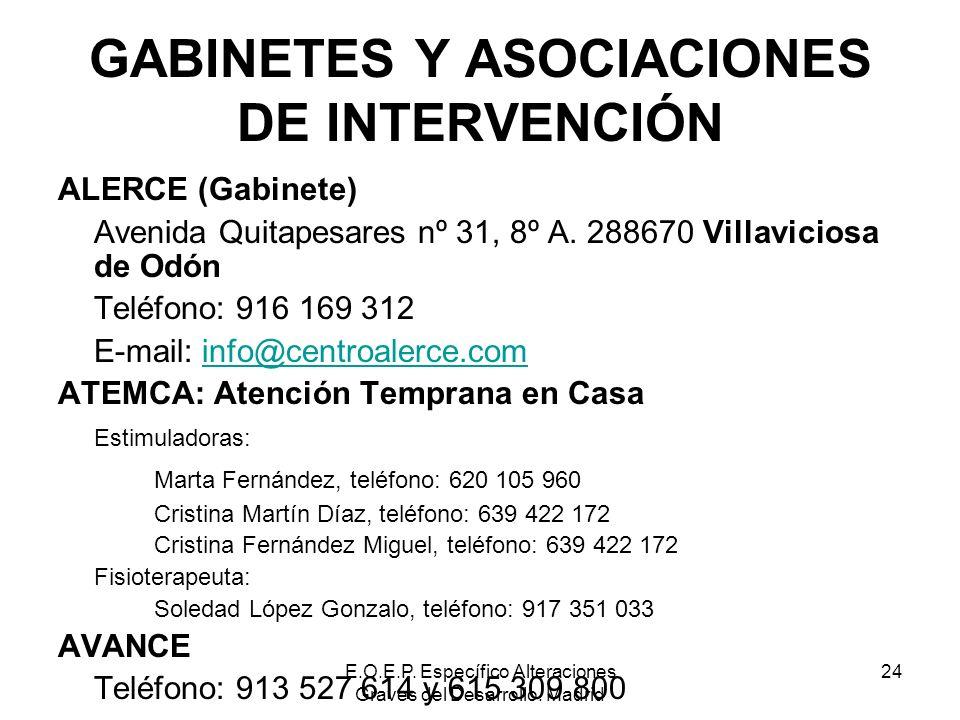 E.O.E.P. Específico Alteraciones Graves del Desarrollo. Madrid 24 GABINETES Y ASOCIACIONES DE INTERVENCIÓN ALERCE (Gabinete) Avenida Quitapesares nº 3