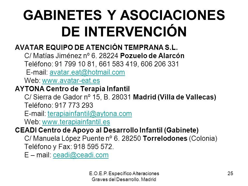E.O.E.P. Específico Alteraciones Graves del Desarrollo. Madrid 25 GABINETES Y ASOCIACIONES DE INTERVENCIÓN AVATAR EQUIPO DE ATENCIÓN TEMPRANA S.L. C/