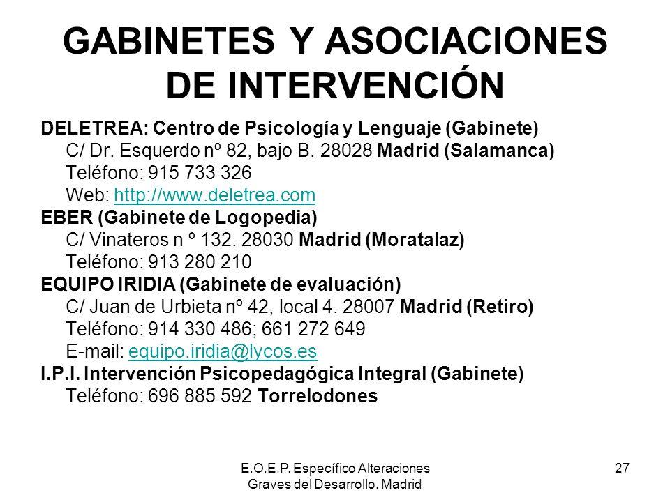 E.O.E.P. Específico Alteraciones Graves del Desarrollo. Madrid 27 GABINETES Y ASOCIACIONES DE INTERVENCIÓN DELETREA: Centro de Psicología y Lenguaje (