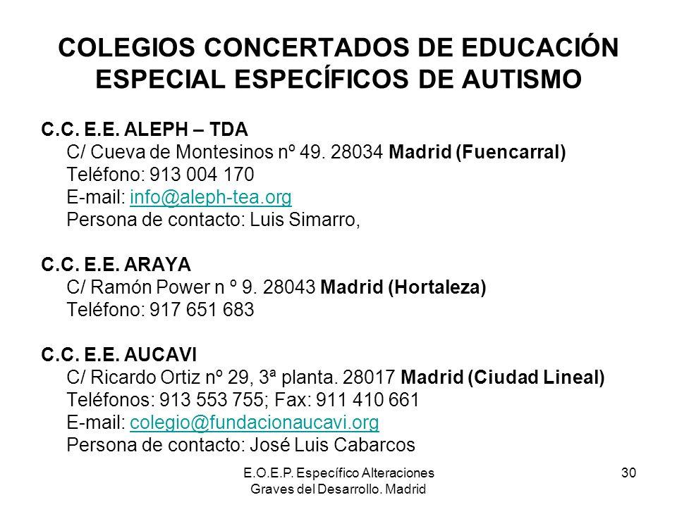 E.O.E.P. Específico Alteraciones Graves del Desarrollo. Madrid 30 COLEGIOS CONCERTADOS DE EDUCACIÓN ESPECIAL ESPECÍFICOS DE AUTISMO C.C. E.E. ALEPH –