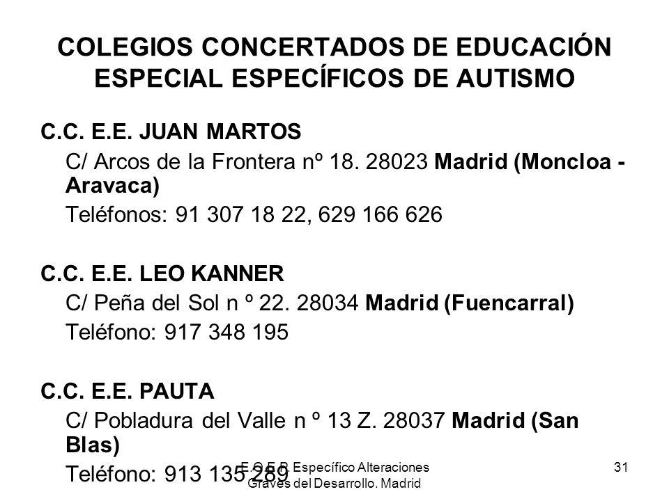 E.O.E.P. Específico Alteraciones Graves del Desarrollo. Madrid 31 COLEGIOS CONCERTADOS DE EDUCACIÓN ESPECIAL ESPECÍFICOS DE AUTISMO C.C. E.E. JUAN MAR