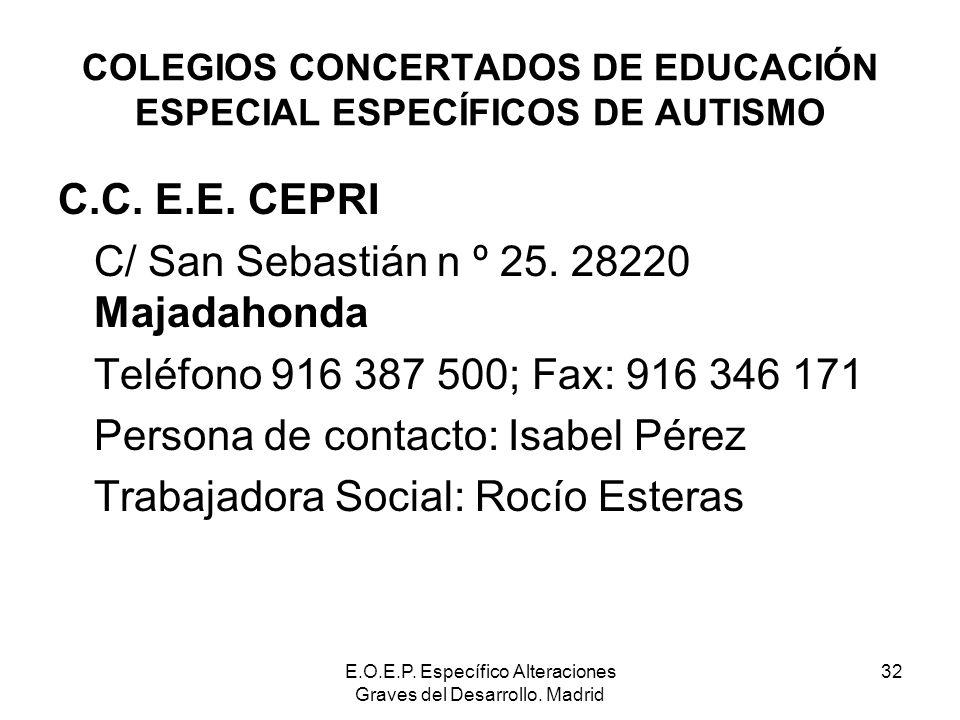 E.O.E.P. Específico Alteraciones Graves del Desarrollo. Madrid 32 COLEGIOS CONCERTADOS DE EDUCACIÓN ESPECIAL ESPECÍFICOS DE AUTISMO C.C. E.E. CEPRI C/