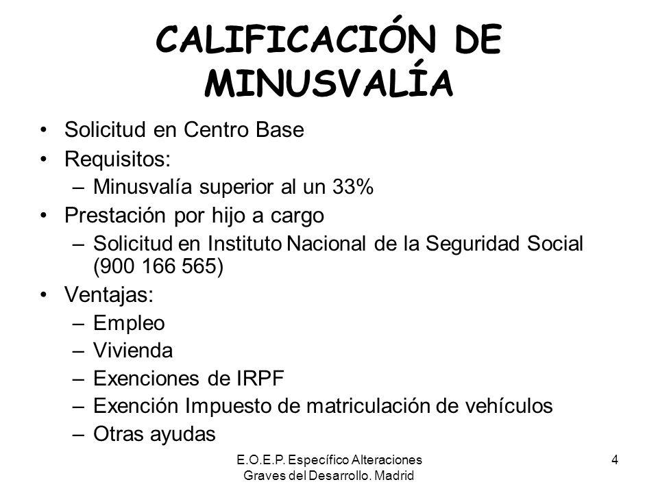 E.O.E.P. Específico Alteraciones Graves del Desarrollo. Madrid 4 CALIFICACIÓN DE MINUSVALÍA Solicitud en Centro Base Requisitos: –Minusvalía superior