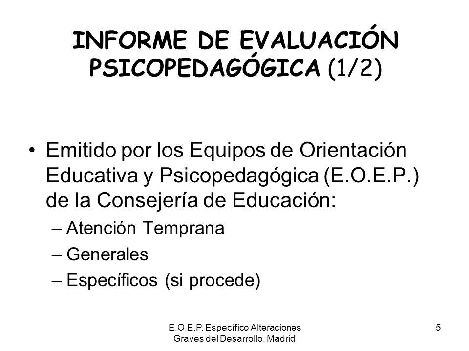 E.O.E.P. Específico Alteraciones Graves del Desarrollo. Madrid 5 INFORME DE EVALUACIÓN PSICOPEDAGÓGICA (1/2) Emitido por los Equipos de Orientación Ed