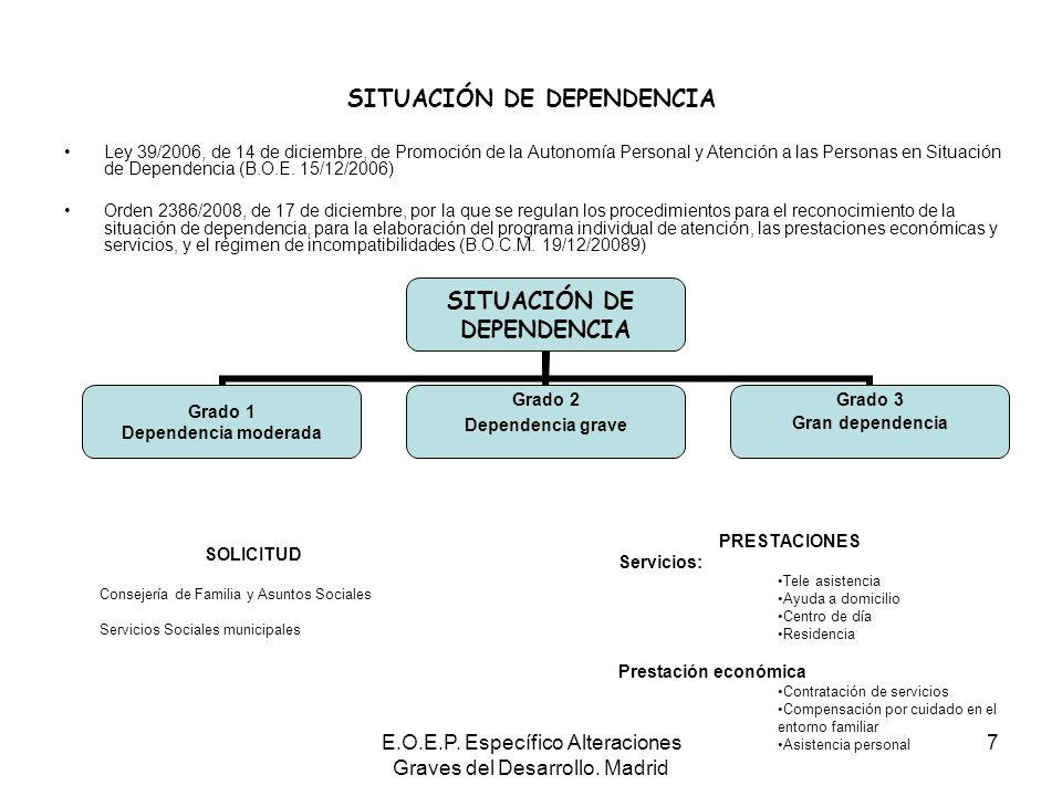 E.O.E.P. Específico Alteraciones Graves del Desarrollo. Madrid 7 SITUACIÓN DE DEPENDENCIA Ley 39/2006, de 14 de diciembre, de Promoción de la Autonomí